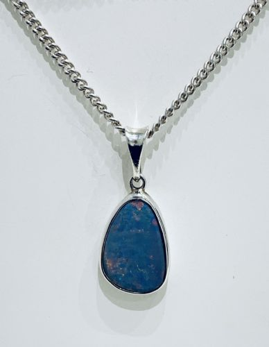 Sterling Silver Opal Irregular Shaped Necklace